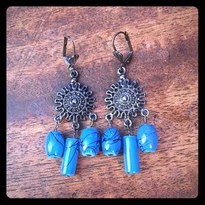 Jewelry - Turquoise Blue Beaded Black Chandelier Earrings
